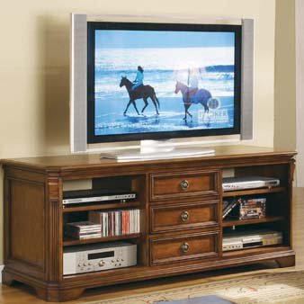 Brookhaven 64-Inch Entertainment Console in Distressed Cherry Finish by Hooker Furniture HF-281-55-458