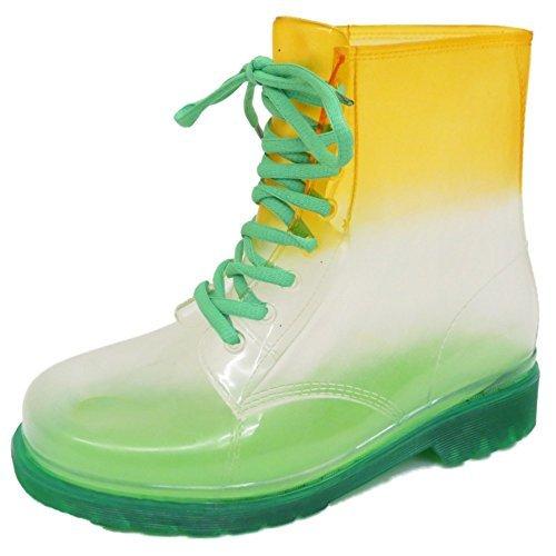 Damen-Flach-Grn-Transparent-Fest-Gelee-Gummistiefel-zum-Schnren-Regen-Stiefeletten-Schuhe-Gre-4-8-GRNES-ORANGES-5-UK-38-EU