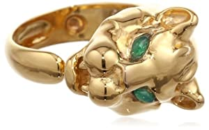 Eddera Jewelry Leopard Gold and Green Onyx Adjustable Ring