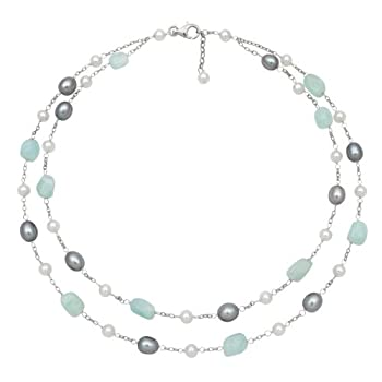 925 Sterling Silver 18 Inch White Freshwater Pearl and Aquamarine Two Row Tin Cup Necklace QN-10766-AM in Gift Box
