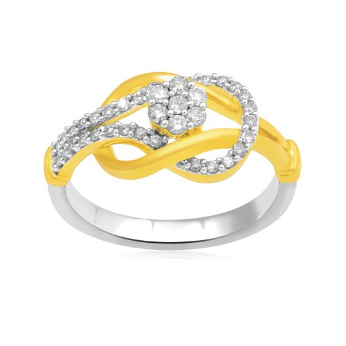 18k Gold Plated Sterling Silver Love Knot Ring (1/3 Cttw, I-J Color, I3 Clarity), Size 7