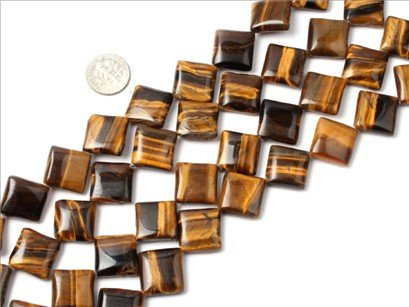 18mm square tiger eye stone beads strand 15