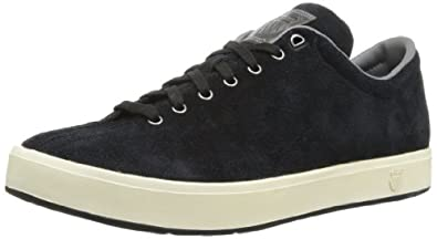 K-Swiss Men's Clean Classic Suede Lace-Up Fashion Sneaker,Black/White,8 M US
