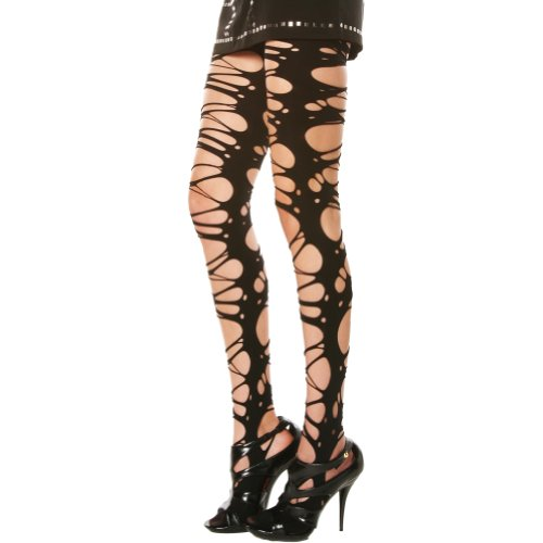 Angelina Ripped/Patterned Opaque Tights. Black , 5293E