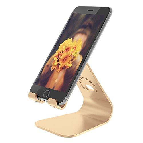 Spinido® アルミニウム製 iPhone5/5c/5s/6/Plus/Galaxy/Samsung Galaxy 対応 スマートフォンスタンド (iPhone, gold)