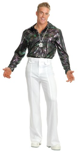 Charades Men's Hologram Ribbon Disco Shirt Costume