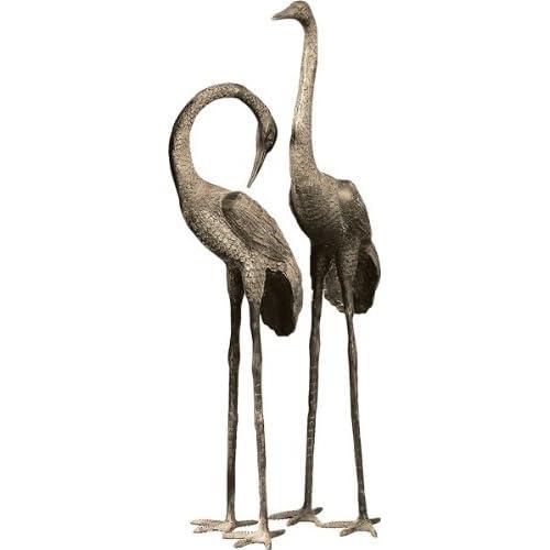 61 Tall Crane Pair Metal Statue Sculpture Garden Decor Plant Stands Patio