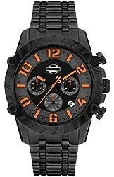 Harley-Davidson Men's Watch, Bulova Chronograph, Black Stainless Steel 78B137