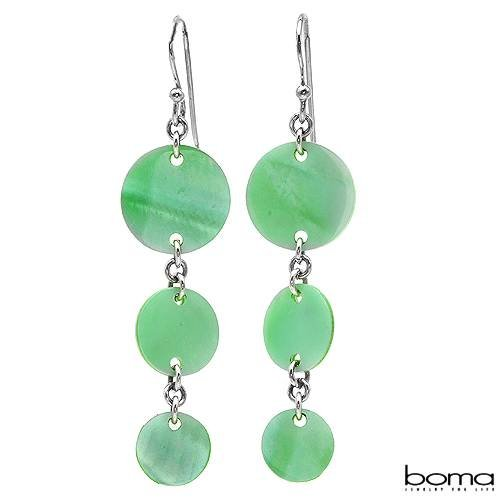BOMA Nice Earrings With Genuine Mother of pearls Beautifully Designed in 925 Sterling silver Length 52mm
