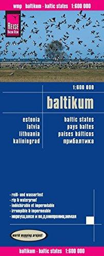 Países Bálticos (Estonia, Letonia, Lituania, Kaliningrado), mapa de carreteras impermeable. Escala 1:600.000. Reise Know-How.
