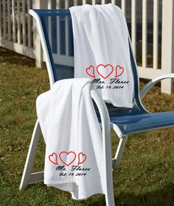 Amazoncom set of marriage embroidered beach towels for Embroidered towels for wedding gift