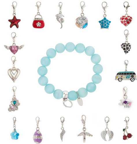 cored Armband aus Glas in babyblau mit Anhänger Charm Herz mit Silberfassung ausgefüllt mit Strasssteinchen