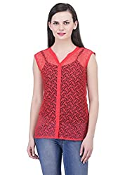 FAIRENO Transparent Women's Red Casual Top