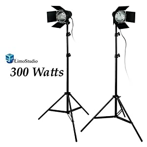 LimoStudio 2 Photography Photo Studio Lighting kit, Photo Video Light Barndoor Light with Dimmer Switch, LMS682