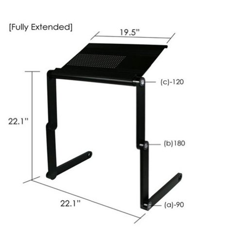 WXBUY Adjustable Vented Black Laptop Table Portable Bed Tray Book Stand Tabletop Up to 19