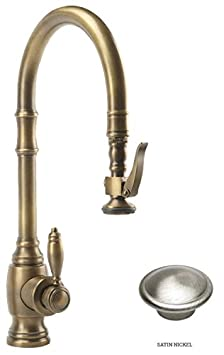 Waterstone 5600-SN Annapolis Kitchen Faucet Single Handle with Pull Out Spray, Satin Nickel