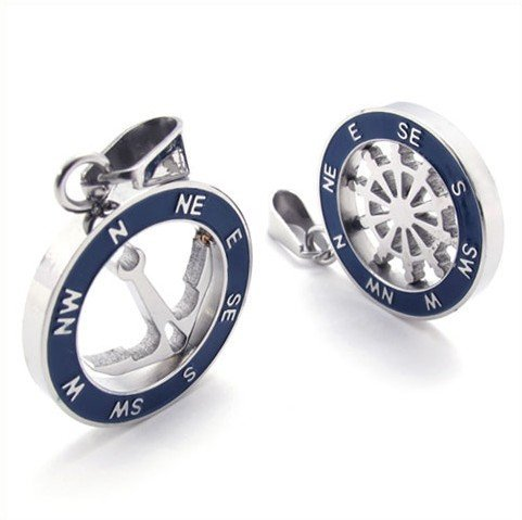 CET Domain SZ11-1169 Mens Sailor Styled Compass Earring Set Titanium Steel