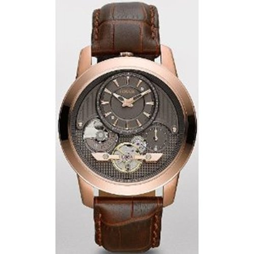 Fossil Unisex ME1114 Brown Crocodile Leather Analog Quartz Watch with Grey Dial