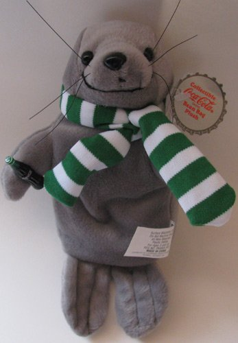 Coca-Cola Bean Bag Plush Seal in Green Stripe Scarf - 1