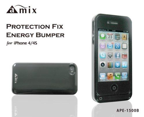 アウトレットamix iPhone4/4S専用 バッテリーケース PROTECTION FIX エナジーバンパー for iPhone4/4S 1500mAh グロッシーブラック