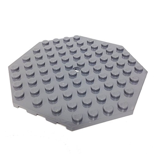 Lego Parts: Plate, Modified 10 x 10 Octagonal with Hole (DBGray) - 1