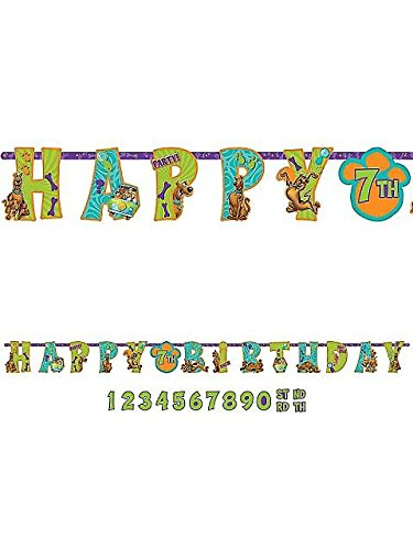 "Awesome Scooby Doo Jumbo Add An Age Letter Banner Birthday Party Decoration, 10-1/2' x 10"", Teal/Purple/Green"
