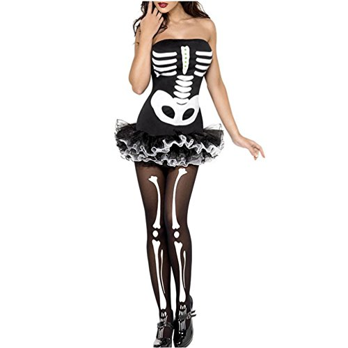 Dear Lover 2015 Halloween Costume Sexy Women Skeleton Dress