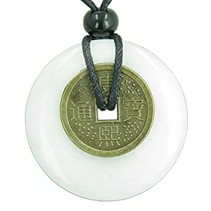 Antique Lucky Coin Evil Eye Protection Powers Amulet White New Jade Gemstone 40mm Donut Pendant Necklace