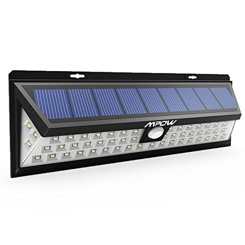 Mpow Foco Solar 54 LED 800lm, Lampara Solar Impermeable Energía con 120° Angulo Amplio y Sensor Movimiento 8m Solar Luz Jardín, Luz Solar Exterior para Jardín, Terraza, Garaje, Camino de Entrada, Iluminacion Exteriores y Seguridad