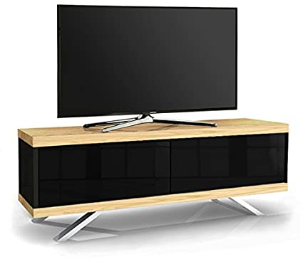 "MDA Designs TUCANA 1200 HYBRID Barras de roble Thru remoto-Friendly 26 ""-55"" Roble pantalla plana y Negro Brillante Gabinete de TV"