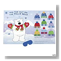 Pin the HAT on the POLAR BEAR/Christmas/WINTER PARTY GAME/w/BLINDFOLD/HOLIDAY FUN