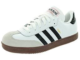 adidas Samba Classic Leather Soccer Shoe (Toddler/Little Kid/Big Kid),White/Black/White,4 M US Big Kid