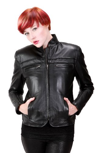 United Face Womens Fitted Leather Motorcycle Jacket, Black, X-Large