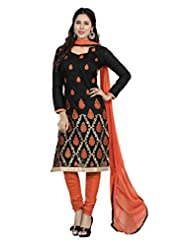Desi Look Women' Black Chanderi Dress Material With Dupatta