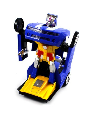 Chevy Camaro SS Super Robot Electric Toy Figure Transforming, Bump 'N Go Action (Colors May Vary)