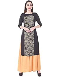 Adesa Brown Colour Printed 3/4 Sleeve Kurti With Palazzo - B06XT1GX59
