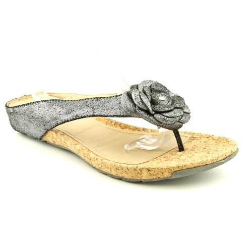 Kenneth Cole Reaction Women'S Flower Park Thong Sandals In Pewter Size 6.5 front-864548