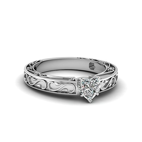 Fascinating Diamonds Carved Filigree Engagement Ring 0.70 Ct Heart Shaped Solitaire Vs2 Diamond Gia