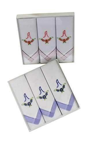 6-Stck-Damen-Monogrammtaschentcher-mit-farbiger-Satinkante-2x3er-Karton-in-rosa-und-hellblau-Freie-Monogrammwahl