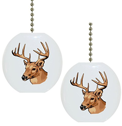 Set of 2 Deer Buck Wildlife Solid CERAMIC Fan Pulls (Wildlife Fan Pull compare prices)