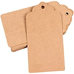 Mikey Store 100PCS Kraft Paper Gift Tags Wedding Brown Rectangle Christmas Tags, Price Label
