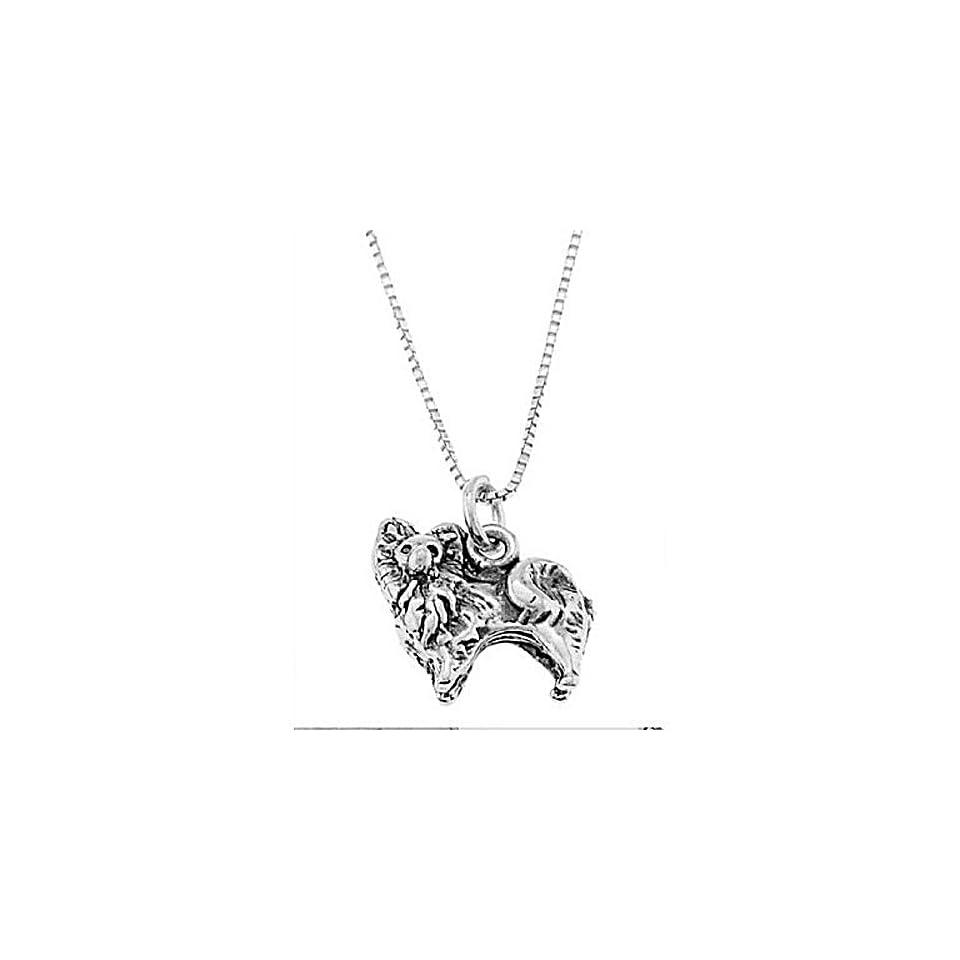 Sterling Silver One Sided Pomeranian Dog Necklace