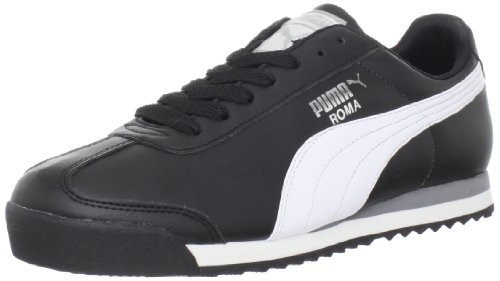 PUMA Men's Roma Basic Leather Sneaker,Black/White/PUMA Silver,9.5 D US