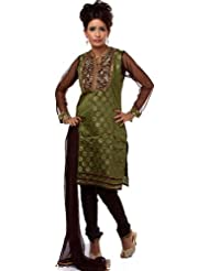 Exotic India Green Brocaded Choodidaar Suit With Antique Embroidery At N - Green