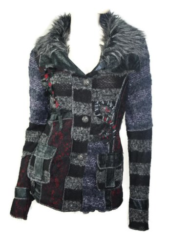 #696 Damen Luxus Designer Patchwork Winter Mantel kurz Stickerei Neu 36 38 40 42 (36)