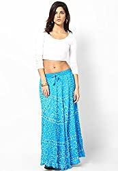 Femezone Bandhej cotton Skirt Torquise, free size