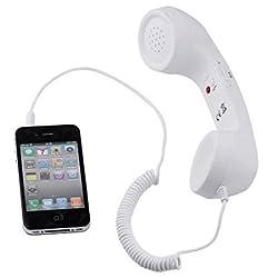 WireBeat COCO PHONE Radiation free Phone 3.5 mm Wired Retro Handset Receiver (White)