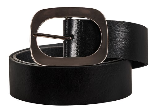 Ladies High End Leather Solid Color Vintage Look Fashion Belt Black Small