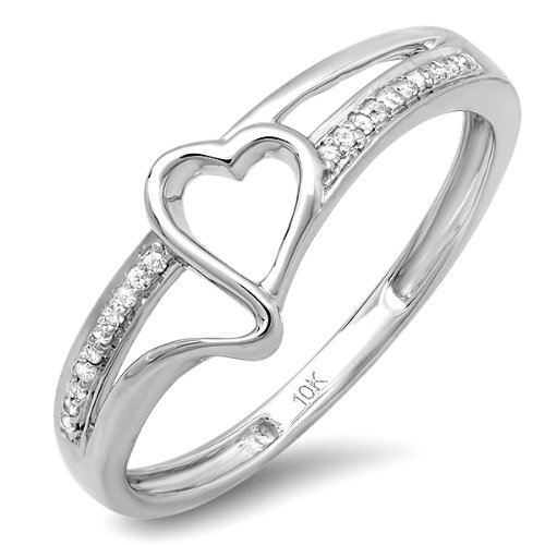 0.10 Carat (ctw) 10k White Gold Round White Diamond Ladies Promise Heart Love Engagement Ring