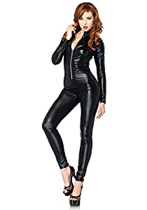 Leg Avenue Costumes Wet Look Zipper Front Cat Suit, Black, Small
